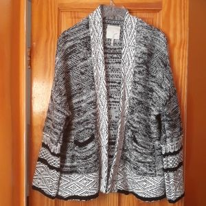 Joie Open Style Black And White Slouchy Cardigan